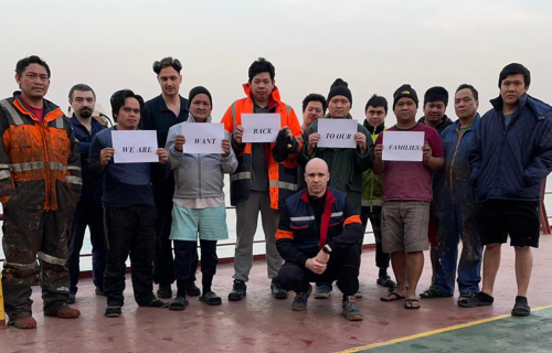 The crew of the MV Christine Oldendorff have been anchored at Caofeidian in Bohai Bay, near Beijing, since 26 August 2020. Now eight months stranded, with 20 on board for more than 18 months in total: they are desperate to get home to their families.